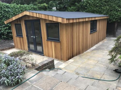 Cedar garden room with pitched roof